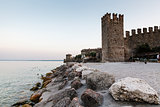 Medieval Castle on the Rocky Beach of Lake Garda in Sirmione, No
