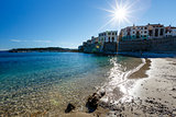 Sunny Beach in the Town of Antibes on French Riviera, France