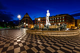 The Fontaine du Soleil on Place Massena in the Morning, Nice, Fr