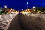 Tramline on Place Massena at Morning, Nice, France