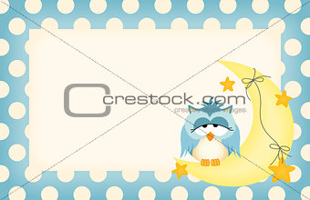 Baby boy label with owl dozing on the moon