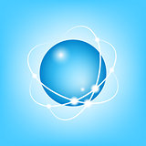 3D Vector Atom on blue