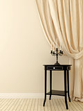 classic table and beige curtains