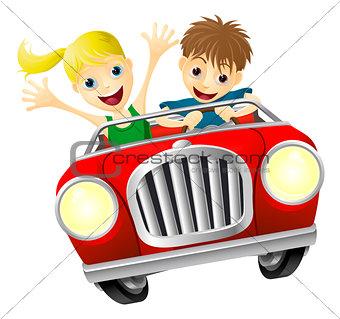 Cartoon man and woman in car