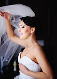 Beautiful Brunette bride is getting ready