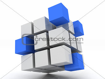 cube blue assembling from blocks