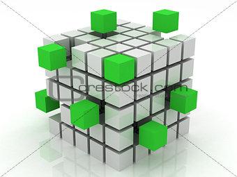cube green assembling from blocks