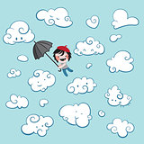 Cute boy flying among clouds