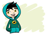Cool boy posing in green hooded shirt