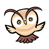 Flying owl cartoon