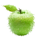 Green apple with leaf of blots