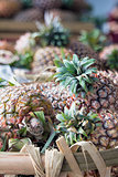Pineapples in Basket Closeup