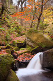 Detail of small waterfall in Burbage Brook Padley Gorge Peak Dis