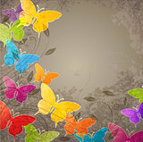 Butterflies and floral ornament