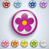 Flower Spring Button Sticker Icon