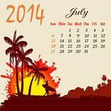 Calendar for 2014 July