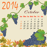 Calendar for 2014 October