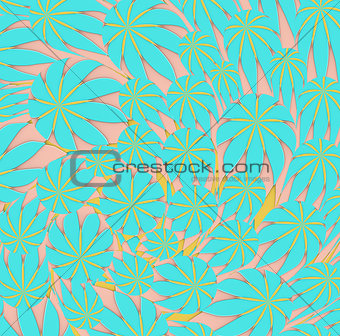 3d yellow blue pink curly worm leaf shape backdrop