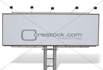 Billboard advertising panel with empty space and lights isolated