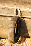 Tire bumpers on a old boat