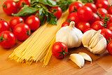 Pasta, tomatoes, garlic and basil