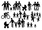 Family black & white icon set