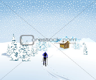 Skiing in winter landscape