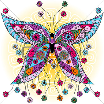 Fantasy spring vintage butterfly