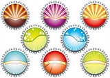 A vector illustration of metal bottle tops in various colours, w