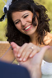 Happy young bride smiling