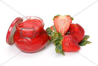 Fresh Strawberries with jam-jar closeup