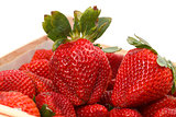 Heap red strawberries in the box