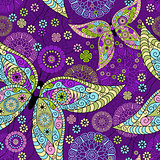 Seamless spring violet pattern