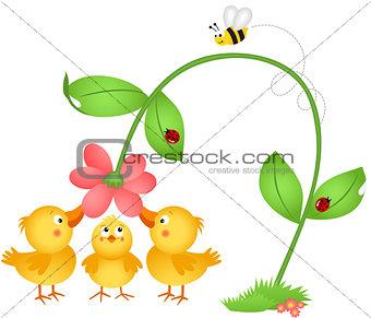 Little chicks admiring a flower