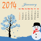 Calendar for 2014 January