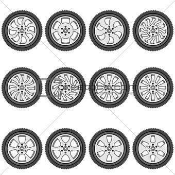 automotive wheel with alloy wheels, vector illustration