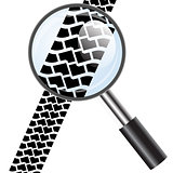 Magnifying glass icon, trail tires. Vector illustration.