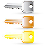 Set of house key icons. Vector illustration.