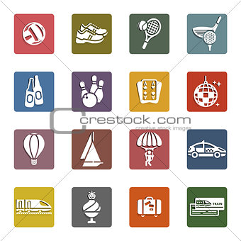 Recreation, Vacation & Travel, icons set