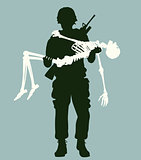Soldier carrying skeleton