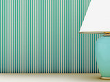 Lamp and striped wallpaper
