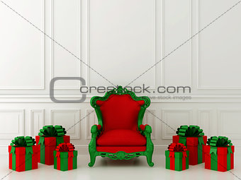 Red chair with gifts