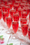 pink champagne in flutes