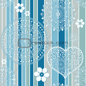 Vintage blue striped seamless pattern