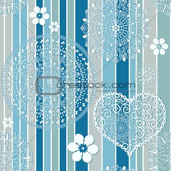 Vintage blue striped seamless pattern