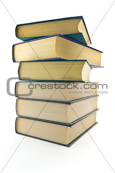 A stack of books on a white background