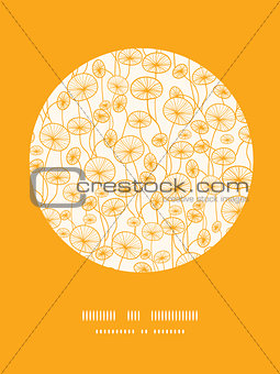 abstract Yellow Plants  Circle Vignette Pattern Background