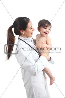 Beautiful female doctor holding a baby