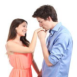 Man kissing the hand to his partner