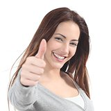 Portrait of a beautiful teen with thumb up gesture